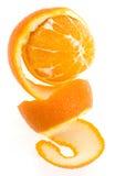 Sinaasappel met spiraalvormige schil Royalty-vrije Stock Foto