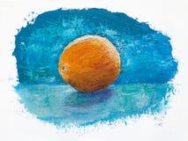 Sinaasappel op blauw, olieverfschilderij Royalty-vrije Stock Foto