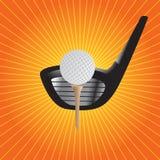 Sinaasappel starburst van golfbal op T-stuk met club Stock Afbeelding