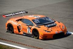 Sinaasappel 1 Team Lazarus Lamborghini Huracan GT3 in Monza Stock Afbeeldingen