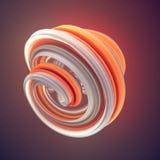 Sinaasappel verdraaide vorm De computer produceerde abstracte geometrische 3D teruggeeft illustratie royalty-vrije illustratie