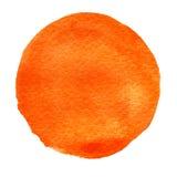 Sinaasappel, waterverfcirkel Watercolourvlek op witte achtergrond vector illustratie