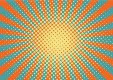 Sinaasappel, yelow en blauwe stralen en puntenpop-artachtergrond retro vectorillustratietekening voor ontwerp vector illustratie