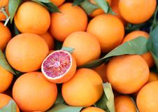 Sinaasappelen bij kruidenierswinkelwinkel - de sinaasappel van het taroccobloed - optimistische sinaasappel stock afbeelding