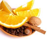 Sinaasappelen, citroen, kaneel Royalty-vrije Stock Foto's