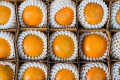Sinaasappelen in de doos voor het verkopen Royalty-vrije Stock Foto