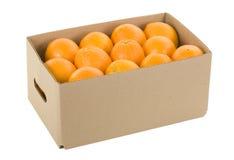 Sinaasappelen in Doos Royalty-vrije Stock Foto's