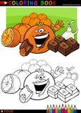 Sinaasappelen en chocolade voor het kleuren Stock Foto's
