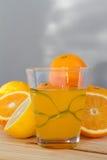 Sinaasappelen en citroen met plakken en glas vers jus d'orange Stock Fotografie