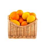 Sinaasappelen en citroenen in een houten die mand, op witte achtergrond wordt geïsoleerd fruit Stock Afbeeldingen