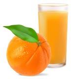 Sinaasappelen en jus d'orange Stock Foto's