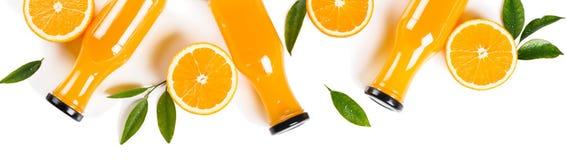 Sinaasappelen en sap boven mening stock foto's