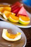 Sinaasappelen en watermeloen Royalty-vrije Stock Afbeeldingen