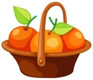Sinaasappelen in mand Stock Afbeeldingen