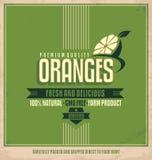 Sinaasappelen retro etiket Stock Afbeelding