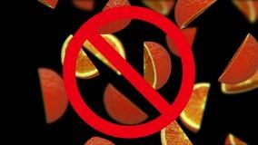 Sinaasappelen in verbodsteken stock videobeelden