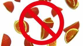 Sinaasappelen in verbodsteken stock video