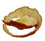 Sinaasappelschil op een witte achtergrond wordt geïsoleerd die stock fotografie