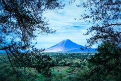 Sinabung mount eruption Royalty Free Stock Photography
