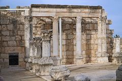 Sinagoga antica a Capernaum Fotografie Stock