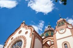 Sinagoga de Subotica vista da parte inferior durante a tarde Igualmente sabido como a sinagoga de Jakab e de Komor fotografia de stock royalty free