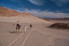 Sinai έρημος με την άμμο και ήλιος κάτω από το μπλε ουρανό το Δεκέμβριο με το π στοκ εικόνες