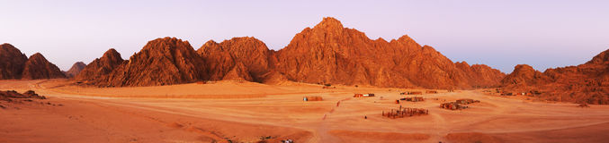 Sinai desert landscape. Panoramic view of desert in Sinai peninsula with red mountains in background, Egypt Stock Image