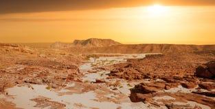 Sinai desert landscape. Egypt Sinai desert view Rocky hills on sunset stock photography