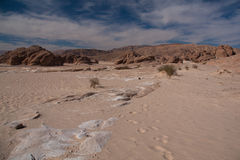 Sinai desert with sand and sun under blue sky in december. Sinai desert with sand and sun under blue sky royalty free stock image