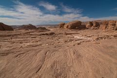 Sinai desert with sand and sun under blue sky in december. Blue sky stock photography