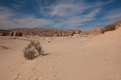 Sinai desert with sand and sun under blue sky in december Royalty Free Stock Photography