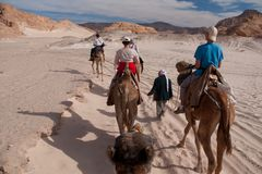 Sinai desert with sand and sun under blue sky in december with p. Eople on camels stock images