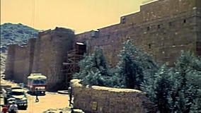 Archival Saint Catherine Monastery walls of Sinai stock video footage