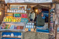 Sinai / Egypt - 03/25/2016: A young bidino sell food and drinks on the way to Mount Sinai stock photo