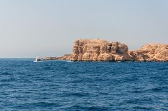 Sinai mountains and picturesque landscapes of the red sea in Egypt. Boat trip on the red sea stock photo