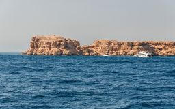 Sinai mountains and picturesque landscapes of the red sea in Egypt. Boat trip on the red sea royalty free stock photography
