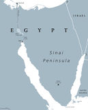 Sinai Peninsula, Egypt, political map. Sinai Peninsula political map. Land bridge in Egypt situated between Mediterranean Sea and Red Sea. With Suez Canal. Gray Stock Image