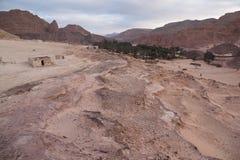 Sinai woestijn met zand en zon onder blauwe hemel in december Royalty-vrije Stock Afbeeldingen