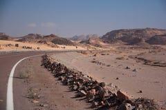 Sinai woestijn met zand en zon onder blauwe hemel in december Stock Foto's