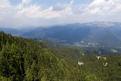 Sinaia city and the landscape. View from telepheric Stock Image