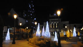 Sinaia,december 27:Christmas lights by night in Sinaia stock video