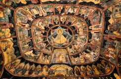 Sinaia Monastery paintings, Romania. Painted dome of medieval Sinaia Monastery, with religious scenes. Art of Romania stock photography