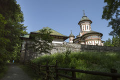 Sinaia monastery seen from a back alley. peaceful atmosphere Royalty Free Stock Photography