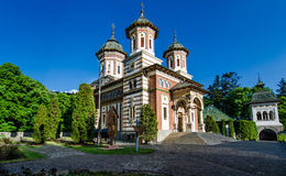 The Sinaia Monastery - side view. The Sinaia Monastery was founded in 1695, in Prahova Valley and named after the great Sinai Monastery on Mount Sinai royalty free stock photos