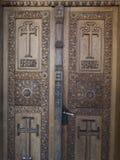 Sinaia Monastery. Wooden doors at Sinaia Monastery, in Sinaia, Prahova County, Romania. The Sinaia Monastery was founded by Prince Mihail Cantacuzino in 1695 and stock photos