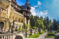 Gardens of Peles Castle stock images