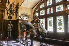 Knight and horse bronze statues in Peles Castle royalty free stock images