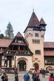 Fragment of the hotel Sipot located near Pelesh castle in Sinaia, in Romania Royalty Free Stock Images
