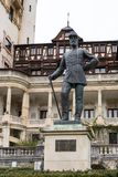 Statue of Carol the First - the First King of Romania in front of the Peles castle in Sinaia, in Romania Stock Photography