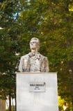 Sinaia Rumunia, Marzec, - 09, 2019: Mihai Eminescu statua wielka romanian poeta obraz stock